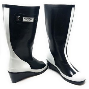Women Black/White Rubber Wedge Rain Boots